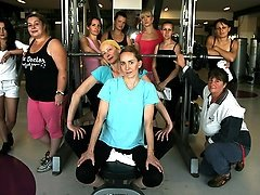 Mature ladies sweating naked at the gym
