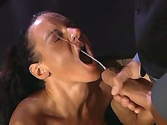 Mature has hard anal fuck on table and gets facial