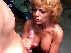 Blonde milf gets cumshot after fuck