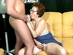 Old granny sucks big young dick