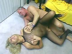 Oldman enjoys slut in gorgeous fishnet outfit