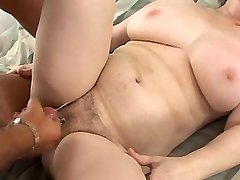 Hot plump granny has hard fuck and gets creampie