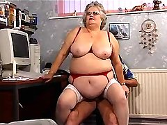 Fat granny sucks n gets titsfuck and jupms on cock