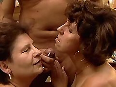 Two aged matures fuck in diff poses and get facial