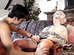 Very old lady throats cock of guy