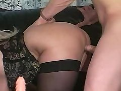 Mature has oral and fucks in doggy style in orgy