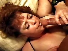 Aged chubby lady gets cum in mouth