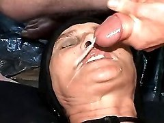 Granny gets cum on face in groupsex