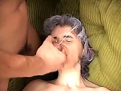 Granny fucks in all holes in orgy and gets facials